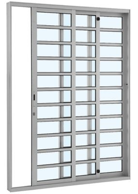 Porta de Correr com Travessa Alumínio  3 Folhas Direita 216x200x12,5cm Alumifort