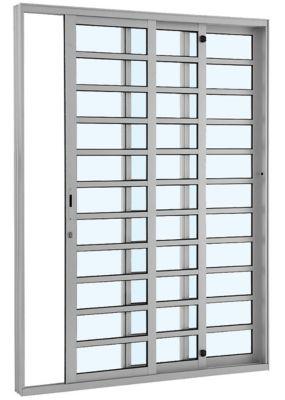 Porta de Correr Horizontal 3 Folhas Esquerdo 216x200cm Branco Alumifort