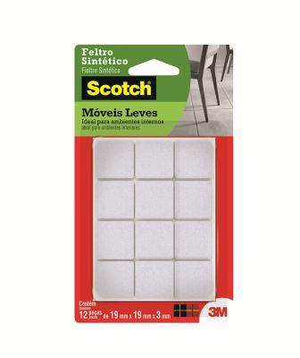 Feltro Sintético para Móveis Leves 3M Scotch Quadrado Branco Pequeno - 12 unidades