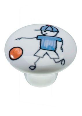 Puxador Il1754 Menino Futebol, Cerâmica, 3,7cm