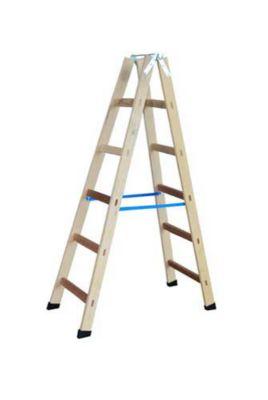 Escada de Madeira Dupla Pintor 5 Degraus e Gancho, Bege