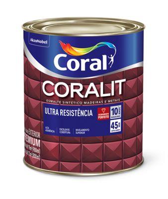 Esmalte Sintético Fosco Preto 900ml Coralit Premium para Madeiras e Metais