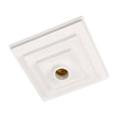 Plafon Quadrado Branco 1 Lâmpada 18,5cm Branco