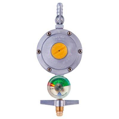 Regulador De Gás Com Registro 506/1 Com Indicador De Pressão Manômetro 2Kg/H