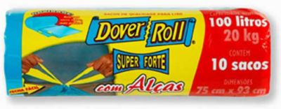 Saco Super Forte com Alças  com 10 Sacos, Azul, 100L, 43x22x30cm