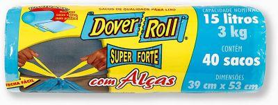 Saco Super Forte com Alças com 40 Sacos, Azul, 15L, 45x22x30cm