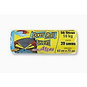 Saco Super Forte com Alças com 20 Sacos, Azul, 50L, 43x22x30cm
