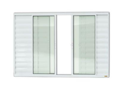 Janela Veneziana Alumínio Branco 6 Folhas Central 100x150x8cm Confort