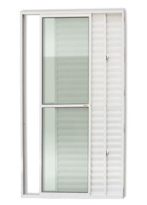 Porta Balcão Veneziana de Correr Alumínio Branco 3 Folhas Esquerda 210x120x11,5cm Super 25