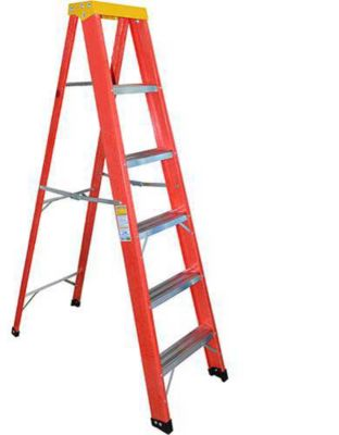 Escada Fvd Dobrável 5 Degraus e Patamar, Vermelho