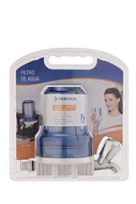"""Filtro De Água Com Torneira Carbon Block 5"""" Azul Para Ponto De Consumo Cozinha 907-0021"""