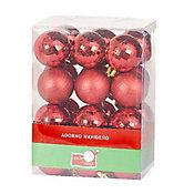 Conjunto 24 Bolas de Natal Diamantadas 4cm Vermelho