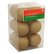 Conjunto 12 Bolas de Natal com Glitter 6cm Dourado