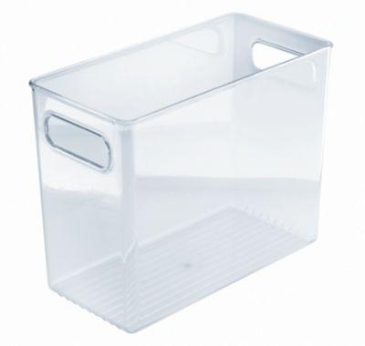 Organizador Alto Para Banheiro Com Alças Plástica, Transparente, 13X25X21cm