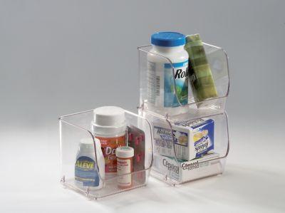Organizador de Plástico para Dispensa Empilhável P, Transparente 11,5x11x10,7cm