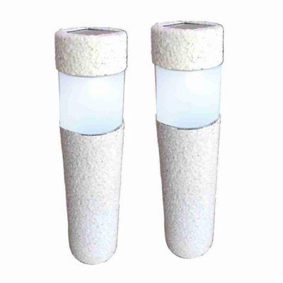 Luminária Solar Baliza Poste Led Br 2 Pcs, Branco
