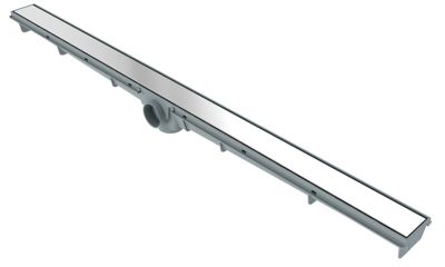 Ralo Linear Leve Lisa Saída Na Lateral No Meio Aço Inox 5X90Cm