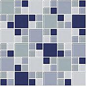 Pastilha de Vidro Mondrian Mix 2,5x2,5 30x30cm Azul