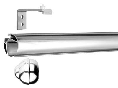 Kit Trilho Redondo com Suporte Simples, Cromado, 2m, 28mm