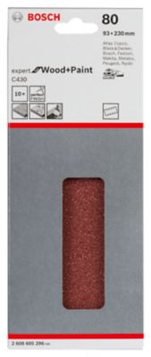 Folha de Lixa Bosch C430 Expert for Wood&Paint; 93x230mm G80 Pacote com 10 unidades