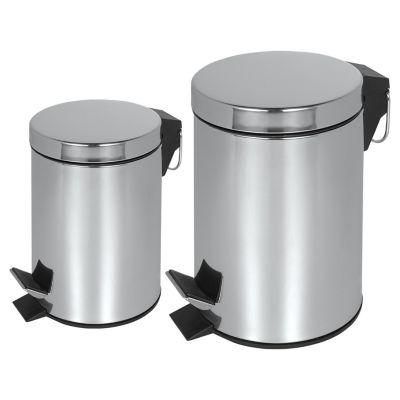 Conjunto Lixeira de 3 Litros e Lixeira de 7 Litros Aço Inox 2 Unidades
