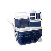 Conjunto Caixa Térmica com Rodas 5 Peças 47L Azul e Branco