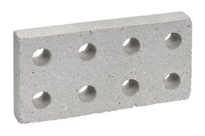 Plaqueta Refratária 8 Furos 11,5x23x3,2cm Branco