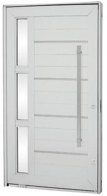 Porta Pivotante Lambril Horizontal de Aluminio Direito com Frisos, Vidro e Puxador 243,5x146cm Branco Aluminium