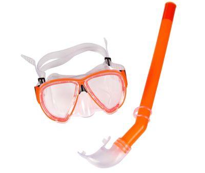 Kit Snorkel com Máscara Premium, Azul Laranja