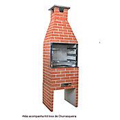 Churrasqueira Pintada, Concreto, Vermelha, 55x50x228cm