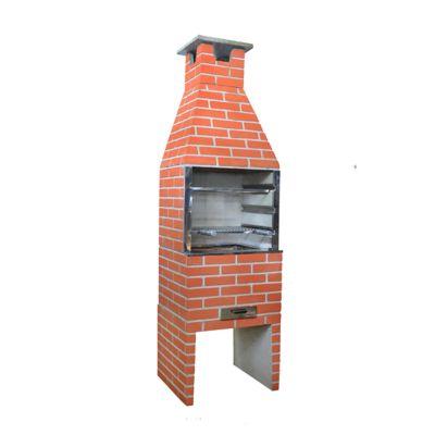 Churrasqueira Pintada, Concreto, Vermelha, 65x55x228cm
