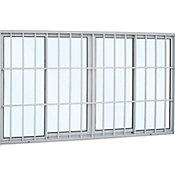 Janela de Correr de Alumínio 4 Folhas Grade e Vidro 100x200cm Branco Alumifort
