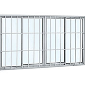 Janela de Correr Alumínio  4 Folhas Com Grade Central 120x150x9,4cm Alumifort