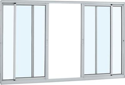 Janela de Correr Alumínio Branco 4 Folhas Central 120x150x6,4cm Alumifort
