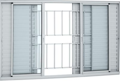 Veneziana de Aluminio 6 Folhas Grade e Vidro 120x200cm Branco Alumifort