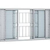 Veneziana de Alumínio 6 Folhas Grade e Vidro 120x200cm Branco Alumifort