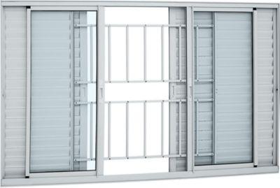 Veneziana de Aluminio 6 Folhas Grade e Vidro 100x150cm Branco Alumifort