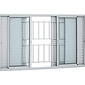 Veneziana de Alumínio 6 Folhas Grade e Vidro 100x200cm Branco Alumifort