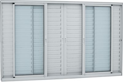 Veneziana de Aluminio 6 Folhas Vidro Liso 120x150cm Branco Alumifort