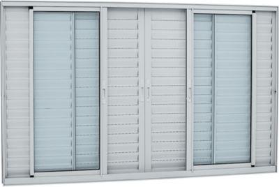 Veneziana de Aluminio 6 Folhas Vidro Liso 100x150cm Branco Alumifort