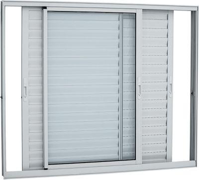 Veneziana de Aluminio 3 Folhas Vidro Liso 120x150cm Branco Alumifort