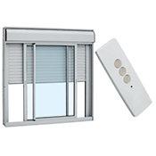 Veneziana Integrada de Aluminio Com Controle Remoto 110V Vidro Liso 120x150cm 110V Branco Alumifort