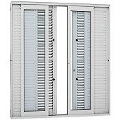Porta de Correr Balcão 6 Folhas Vidro Liso 216x250cm Branco Flex