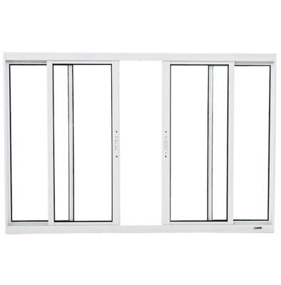 Janela de Correr Alumínio Branco 4 Folhas Central 120x200x5,9cm Boldie