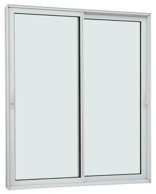 Porta de Correr Acústica de Aluminio 2 Folhas Móveis 220x160cm Branco Aluminium