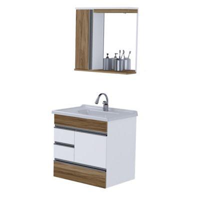 Gabinete de Banheiro Modena 2 Gavetas e Gavetão Nogal 59,5cm
