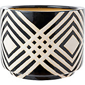 Vaso de Cerâmica Grande 34x27cm Preto e Branco