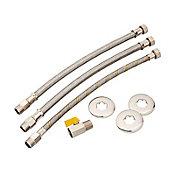 Kit de Aquecedor para Gás com Válvula Flexível 0.40m Cromado