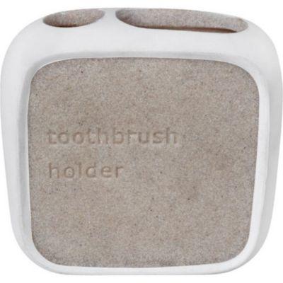 Porta Escova de Dente Mix 9x10x4cm Branco e Bege
