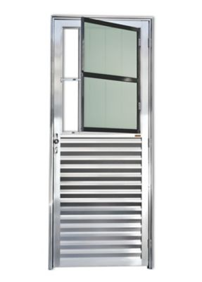 Porta Postigo Alumínio Brilhante Com Grade Esquerda 210x80x4,6cm L 25